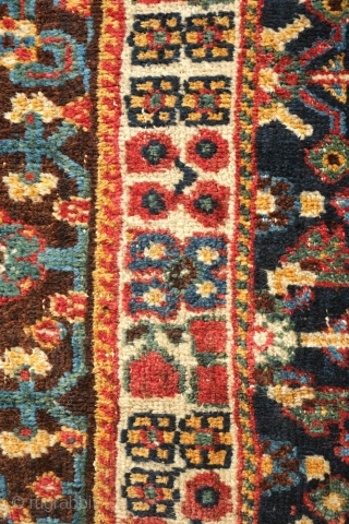 Lori or Qashqa'i Rug, possibly Kashkuli, Late 19th/early 20th Century. Wonderful garden design. All good colors on a coarse weave. Grey warps. There is a small repair which can be seen in  ...