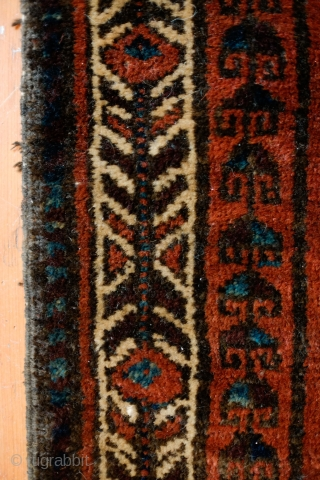 Baluch Bagface, possibly Adraskan area of Western Afghanistan. Late 19th Century.  Beautiful leaf and tree of life design.  The pile is full and the colors are deep and dark. It  ...