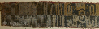 """Pre-Columbian textile fragment, framed, probably Chancay, 11"""" by 25"""" in its frame, 4"""" by 17"""" textile alone.  Please ask for additional photos if needed."""