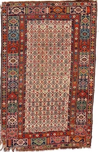 Mid 19th Century (possibly earlier) Caucasian rug, Kuba or Shirvan area, with all natural dyes in a wide array of colors (4 shades of blue, green, gold, brown, ivory, apricot, rose, red,  ...