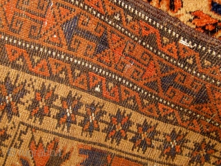 """Antique camel ground """"tree of life"""" design Baluch prayer rug, in near pristine condition.  Original ends and sides.  All dyes natural.  34"""" by 65"""".  Circa 1890-1900.  Please  ..."""