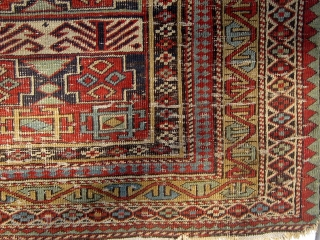 """19th Century Shirvan Marasali carpet with animals, distressed but complete, cotton wefts and selvages, 46"""" by 55"""".  Please ask for additional photos if needed."""