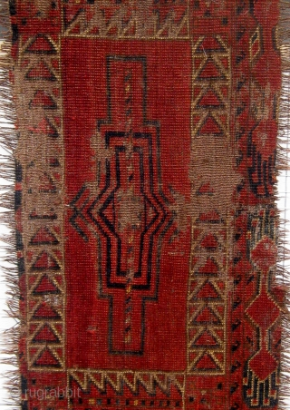 "Archaic fragmented Ersari-Kirghiz large torba, 19th century, condition as seen, roughly 17"" by 66"".  Please ask for additional photos."