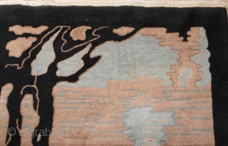 Antique Chinese Art Deco pictorial rug.  Circa 1920-1930.  In very good condition.  Roughly 3' by 5'.