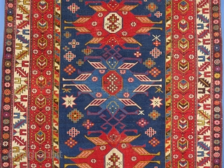"""Caucasian Rug, Azerbaijani Lenkoran, c. 1900+/-, 68"""" X 54"""". Good condition but has light wear and bottom Guard Border is frayed out. SOLD"""