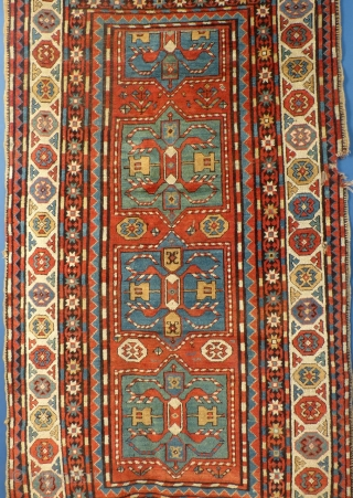Antique Caucasian Rug, possibly a Chyly(?) Has great overall pile but also has a few problems.  The ends need work and there is a large ding along the one edge. There are also  ...