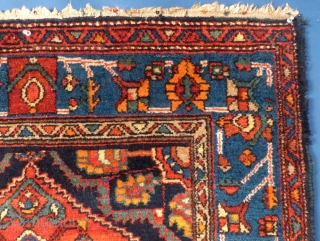 """Nice small weaving.  Probably a Hamadan(?) Measures 57"""" X 42"""". Excellent condition. One end has begun to fray. Has been washed.  SOLD"""