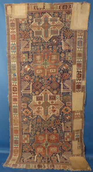 """Caucasian Akstafa, c. 1875-90, Well worn with bad repairs, 111"""" X 51"""" Email me for more pictures, info. and price ddbstuff@aol.com, SOLD"""