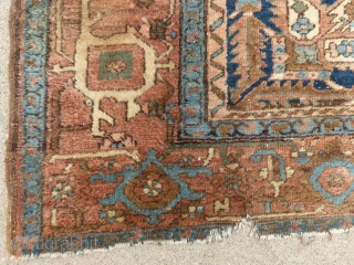 """Antique Heriz/Serapi, c. 1880-1900+/-, 9'6"""" X 12'9"""", Has end """"dings"""", and short tears, Shows mild wear, has a few moth bites, Has been washed.  Over all it's very presentable...  SOLD..."""