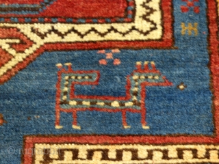 """Large Antique Caucasian Kazak, Double Niche Rug, Wool, AS Is.   Good condition and good pile throughout but it does have a corner missing.  It measures 84"""" X 63"""".  SOLD"""
