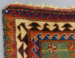 """Antique Caucasian Borjalou Kazak Prayer Rug, 65"""" x 45"""", Dated(?) c.1875-1900 Has center wear and a little moth damage and corners need work.Has been washed. SOLD"""