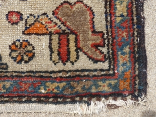 "Antique Geometric Rug, Possibly a Kurdish weaving(?), Measures, 74"" X 44"", Shows a little wear at the lower end but no holes, stains or tears.