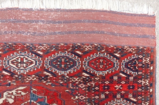 """Antique Turkoman Main Carpet, c.1900-1920(?), 8' X 10""""+/-, very good condition with 2 small repairs, flat weave ends have a couple tears. AVAILABLE"""