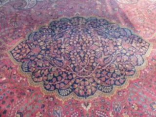 Antique Persian Carpet, Sarouk(?), c.1890-1920 (?), 13' X 20' Good lightly worn condition with 2 small burn holes near the one end. SOLD