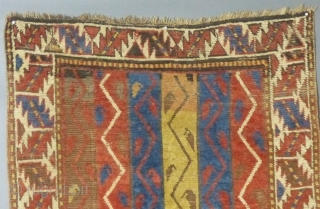 """Caucasian Kazak, 40"""" X 67"""",  Has black corrosion issues but is over all in good condition. SOLD"""
