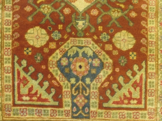 """Small antique Turkish Prayer Rug. Possibly Sivas(?) 36"""" X 47"""", Good condition, ends are slightly frayed out. Couple of minor moth bites. Very fine weave and good, even pile. Colors are a bit softer in reality... SOLD"""