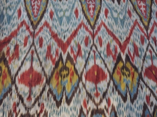 Uzbek Adras ikat panel.Circa 1900.Unlined. 61 x 51 inches (155 x 130 cm).Some stains ( see detail ) No tears or holes.Includes shipping if to USA