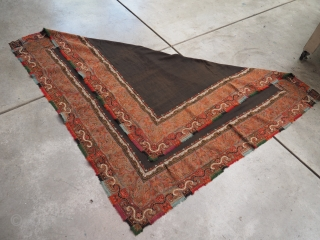 Kashmir foldover shawl. Circa 1850's.62x62 inches (158cm squared)In excellent condition