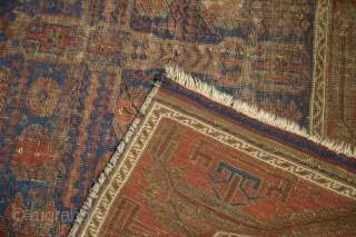 """Timuri Belouch Garden carpet, 1800s. Worn and used but with phenomenal design. Electric blue. Early piece, big size, cochineal reds. 4'8"""" x 8'4"""". Contact for more info."""