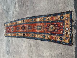 Karadja runner, ca. 1900, or older. Herati borders and traditional (old) medallions.  Good condition. One small professional repair, partly new overcast along longsides. Otherwise all original. 335 x 81 cm.  If you  ...