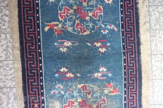 Tibetan rug 130 x 68 cm, with condition issues