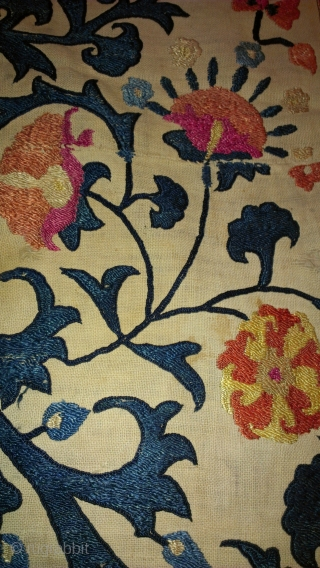 Suzani silk on cotton fragment 1800's for shure