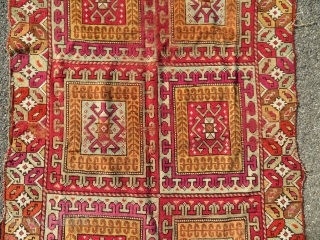 Antique 19th century moroccan carpet. Possibly Rabat.  Rare to find such an old piece. Clear ottoman influence.  Part of the shirazi and ends kilims are still in place.  199 x 120 cm