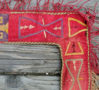"""Antique Lakai - Uzbek Door Surround -19th Century 34""""x77""""  I acquired this door surround in 1971 as part of a Lakai collection of textiles, among them several Mafrashes and Segushas. All of  ..."""