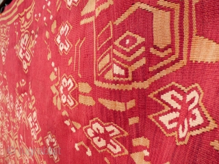 Large Eastern European Kilim, Bessarabian? - good condition, minor stains and removable spots of dirt, needs a clean - see photos. Wool on wool. Colours - magenta, ivory, olive green.  Provenance: Rushbrooke Hall,  ...