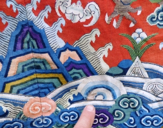 Chinese Antique Court Robe Kesi silk-gauze tapestry-weave with metallic thread and ink-lined details. Numerous damages, repairs, patches and alterations - see photos. Ten imperial dragons. Silk lining intact. Wearable. Please contact for  ...