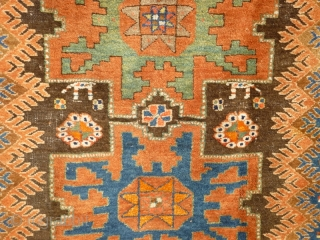 Funky Early 20th Century Caucasian Azerbaijan Rug with Lesghi stars and zoomorphic figures. Great colours, good shape and size. Acceptable condition - minor issue with selvedge lower left, see photos. Not unattractive  ...