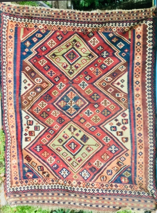 Old, worn South West Persian Qashqai 'Ghileem' Kilim a/f flat-woven carpet in usable state with great palette and very finely woven. Pure Wool. Minor damages and repairs in places. Size: 8ft 2in  ...