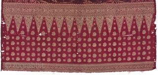 Rare Selendang Limar with very nice DRAGON ikat motive from Bangka, Sumatera Indonesia . Conditions: has many holes at the tumpal side, but no glue anywhere just some village original repairs in  ...
