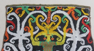 Dayak fragment beads baby carrier from Kalimantan Indonesia. 29cm x 27cm. Conditions : Please see on the picture, Free from any repair. 19th century.