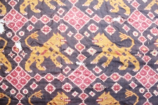 India Cloth Patola with tiger motive found from Indonesia. 19th century. Size : 225cm x 60cm. condition : left and right part of the cloth has been cut and re sewingg. And  ...