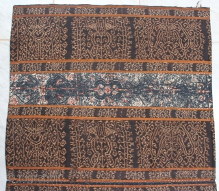 A Rare Sarong Tapis Inuh from lampung Sumatera Indonesia. Very fine ikat with two panel embroidery vajra motive. 70cm X 120cm. 18th-19th century.