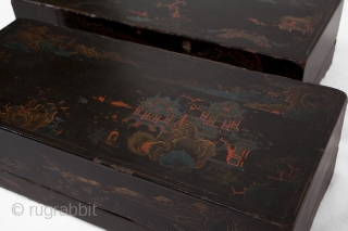 This pair of early Qing dynasty Shanxi province black lacquer food containers is beautifully decorated with polychrome painted landscape scenes.  Made from a poplar wood core, these boxes were originally used as food  ...