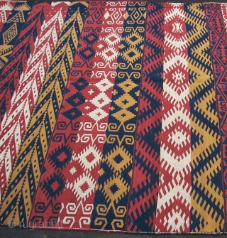 Uzbek,! With tag, seven strips, all wool, two holes , one loose sewn ( ca 11 cm between two strips ) ,semi or nomadic flatweave, ca 266 x 160 cm . Ca.  ...