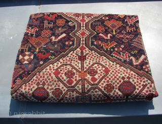 Khamseh ( Baharlu Tribe ? ) Confederacy rug ( with a single Boteh somewhere in the field...) southwest Persia ,first half 20th.Cent.Wool on wool, original kilim ends and shirazi, some old restorations.  ...