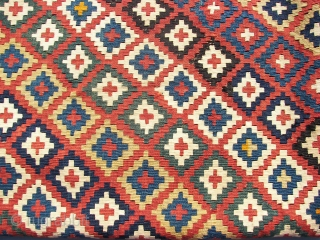 Ghashgai, kilim, ca. 230. cm x 150 cm. wool,wool,cotton. Over a hundred years old. Good colors. Has some damage, see the pics.Original guard borders missing. Cleaned, and washed it two days ago.  ...