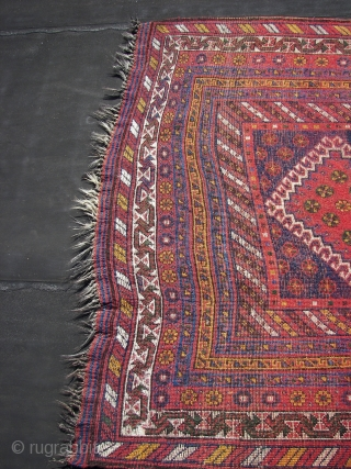 Luri, Kurdish, Veramin ?  Full lush piled ,wool on wool, most of the warps are from goathair, ca. 330 cm. x 136 cm. Good overall condition. Five hooked rhombic medallions in  ...