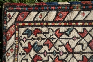 "Shahsavan mini khorjin, 1'11-1/2"" X 6-1/2"". Wool and cotton. 19th C. Soumac star design on white cotton ground. Bright natural dyes. Excellent condition."