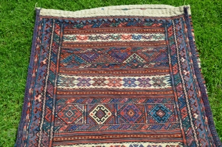 "Kordi çuval (grain bag). 48"" X 32"". Wool. First 1/4 20th C. Brocaded designs. Bright natural colors. Near perfect condition. Bargain price."