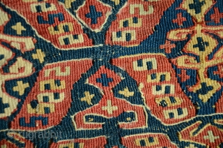 "Rare antique Kordi flatwoven khorjin. 36"" X 16"". Circa 1900. Wool. Natural colors. Repaired bridge. Modified elibelinde motifs. See Stanzer's ""Kordi"" for comparisons."