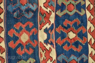 "Antique Varamin Kurd kilim  khorjin, 50"" X 21"" C 1890-1900. Wool. All natural dyes. Very good condition. cf. Housego ""Tribal Rugs"" for comparisons."