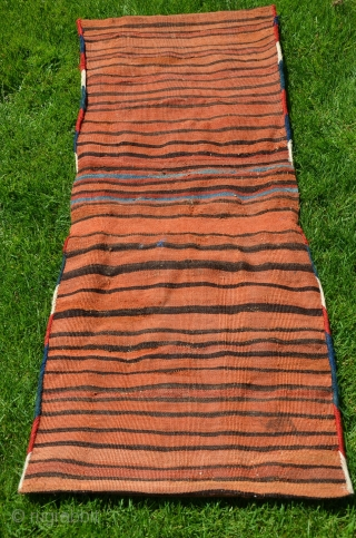 """Antique Varamin Kurd kilim  khorjin, 50"""" X 21"""" C 1890-1900. Wool. All natural dyes. Very good condition. cf. Housego """"Tribal Rugs"""" for comparisons."""