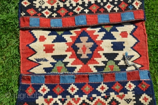 "Colorful antique Shirvan kilim khorjin. 49"" X 21"" Circa 1900. Complete. Bright saturated all natural dyes. Finely woven. Very good condition."