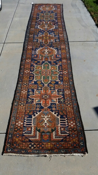 """Heriz runner, 3'-2"""" x 15', circa 1910, in good condition (some uneven pile),great colors, washed and ready to be used."""