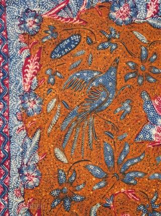 Java | Batik Waistcloth made in 3 States (Kain Panjang Batik Tiga Negeri) | Indonesia  Java, Solo / Lasem / Pekalongan, 1950s  A fine waistcloth (kain panjang) hand-drawn separately in Solo, Lasem, and Pekalongan  ...