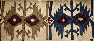 Anatolian (probably Reyhanli) kilim fragment. Magnificent saturated natural colors.  Size: 327cm x 77cm - 128 x 30 inches